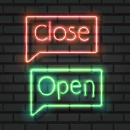 Open close neon signs on dark background vector