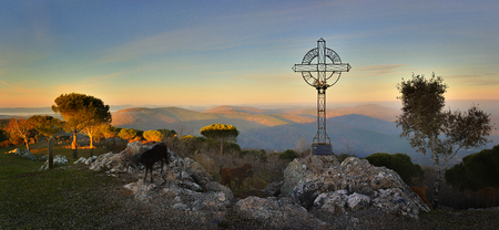 A cross that dominates the landscape guarded by a herd of goats Banco de Imagens