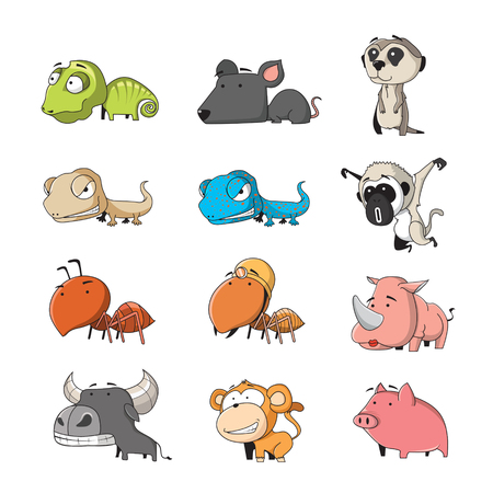 animal cartoon: Funny Animal Vector illustration Icon Set Illustration