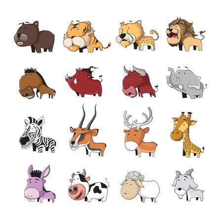 cartoon donkey: Funny Animal Vector illustration Icon Set Illustration