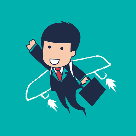 young schoolchild: businessman flying Illustration
