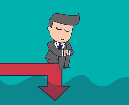 businessman graph down Vektoros illusztráció