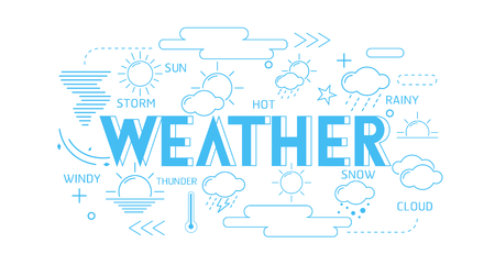 Collection of weather thin line icons Çizim