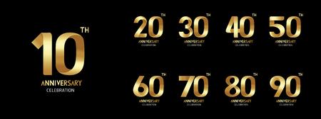 Conjunto de icono de aniversario. Diseño plano