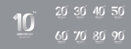 Set of anniversary icon. Flat design Vektoros illusztráció