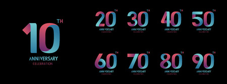 Set of anniversary  icon. Flat design Vectores