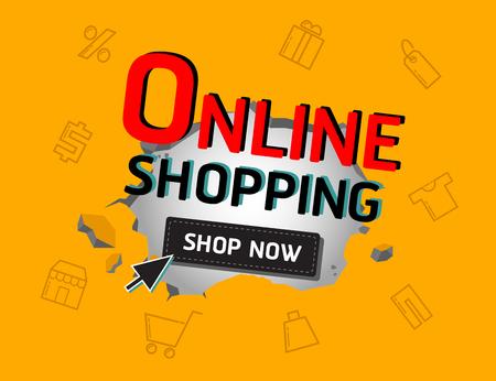 online shopping banner Stock Illustratie