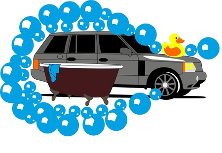 Car wash and Duck Vector