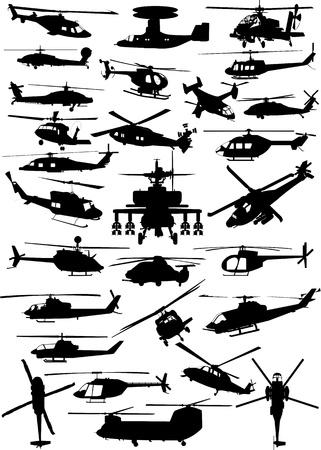 Helikopters collectie Vector Illustratie