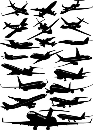 Different airplanes isolated on white
