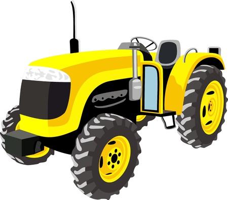 yellow tractor: Tractor amarillo aislado en blanco Vectores
