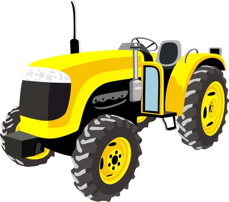 Yellow Tractor isolated on white Illustration