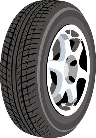 car tire: Wiel op wit wordt geïsoleerd Stock Illustratie