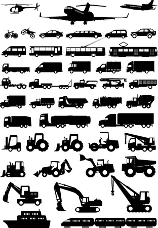 transportation silhouette: All types of transport Illustration