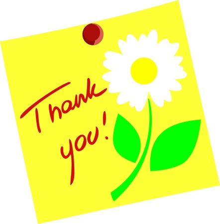 Flower with Thank you isolated on yellow paper  Illustration