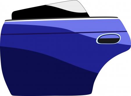 Modern blue car door isolated on white