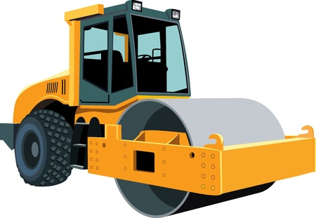 heavy equipment operator: Original road roller isolated on white Illustration