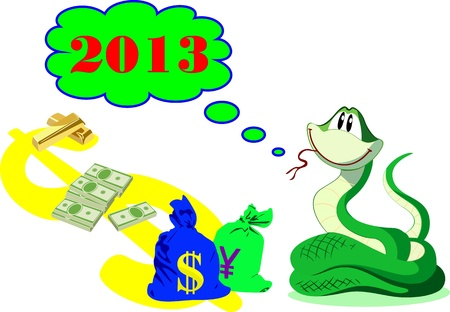 New Year rich green snake with money and gold Vector