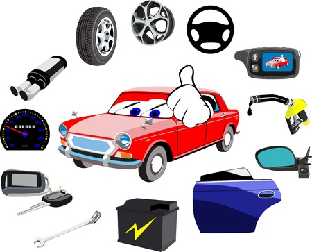 car part: Car and a lot of necessary details on a white background Stock Photo