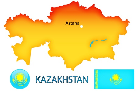 Physical map, blue flag with the symbols of central asian country Kazakhstan