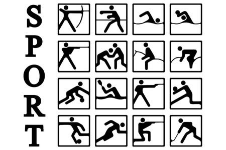 tiro al blanco: Iconos Deportes aislado en un fondo blanco Vectores