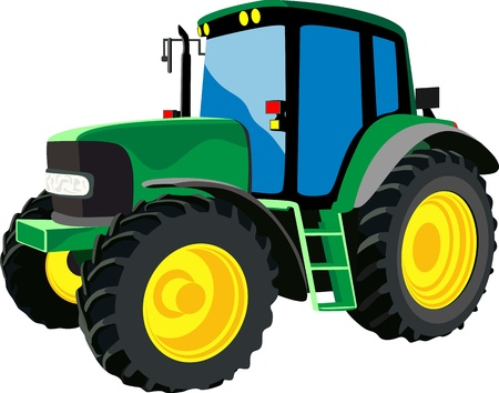 yellow tractors: Green agricultural tractor Illustration