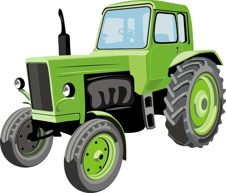 tractor in field: Farm tractor Illustration