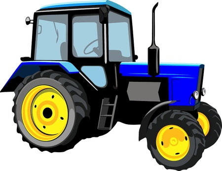 Beautiful tractor isolated on a white background Illustration