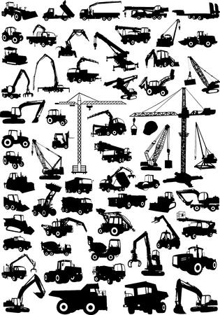 maquinaria pesada: Las técnicas de construcción colección grande Vectores
