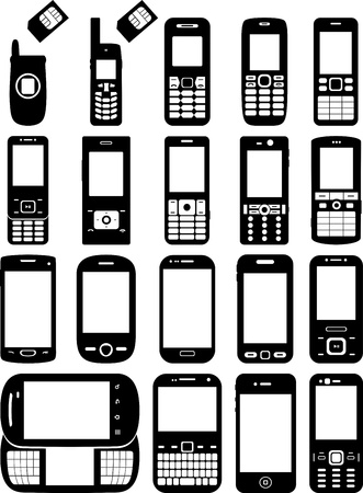 Set of cell phones Stock Vector - 19097109