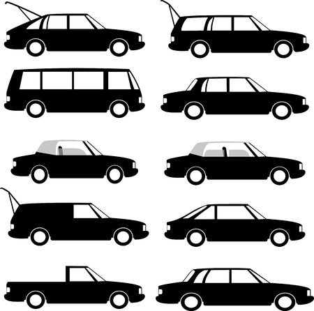 different types: Collection of different car types