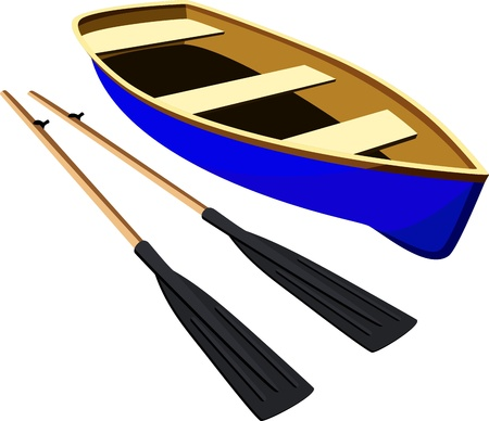 rowboat: Blue boat with oars