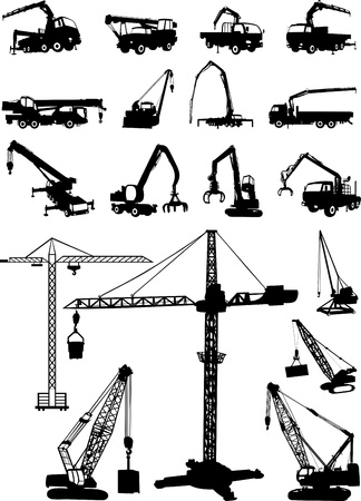Crane and trucks