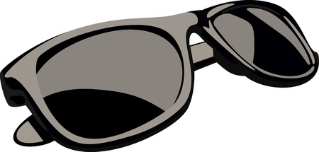 eye wear: Black sunglasses Illustration