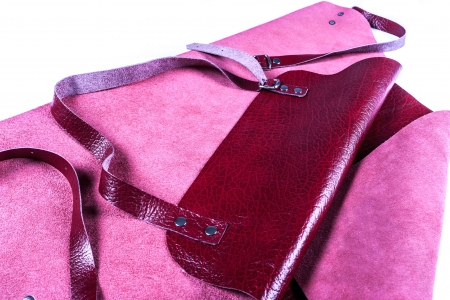 Red leather apron for welder protection photo