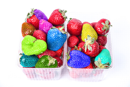 Stock Photo Image Boxes of fresh ripe strawberries