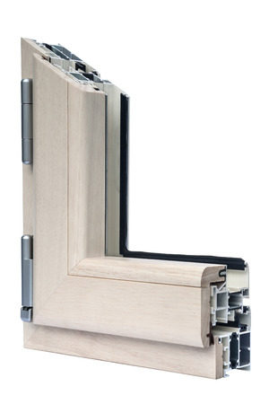 fibreglass: Profile systems for windows and doors manufacturing - Stock Image Stock Photo