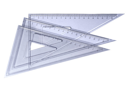 supplies: Metric transparetn plastic triangle isolated with clipping path (wo shadow). Very high resolution and lot of details.