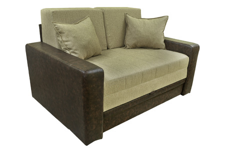 seater: Modern couch. Sofa for home Interior. A modern retro style seafoam, sofa is isolated, against a white background. The sofa has one, two ar three seats, a nuanced pattern.