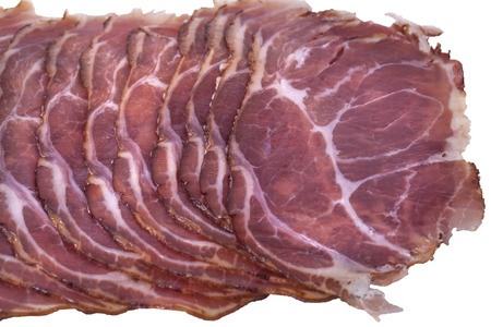 combining: Delicatessen products cut into thin slices with a clearly visible structure and content of meat. The individual pieces of dried meat suitable for combining the commercials.
