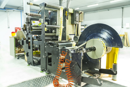 out of production: Industry Printing Press of labels for products