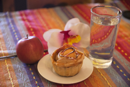 beautifull: Beautifull Apple pie on desk for guests Stock Photo