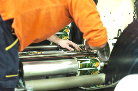 offset up: Printing at high speed on offset machine. Label, Rolled Up, Printing Out, Group of Objects, Merchandise