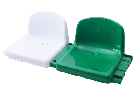 pitching: The final appearance of the finished chairs for seating at sports stadiums Stock Photo