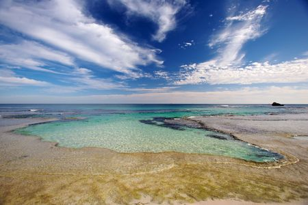 A natural swimming pool known as The Basin found on Rottnest Island, Western Australia.