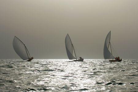 Traditional racing dhows sailing in the Arabian Gulf, near Dubai. Stock Photo - 7396020