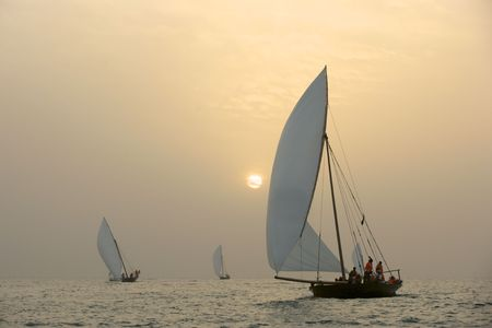 Traditional racing dhows at sunset, in the Arabian Gulf, near Dubai. Stock Photo - 7396001
