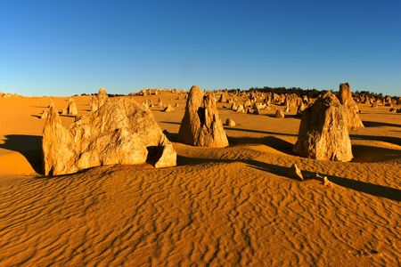 The Pinnacles Desert in the heart of the Nambung National Park, Western Australia. Stock Photo