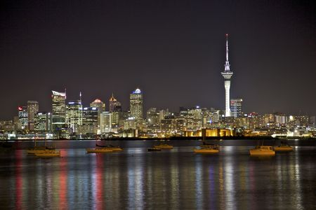 Auckland City skyline at night. Stock Photo