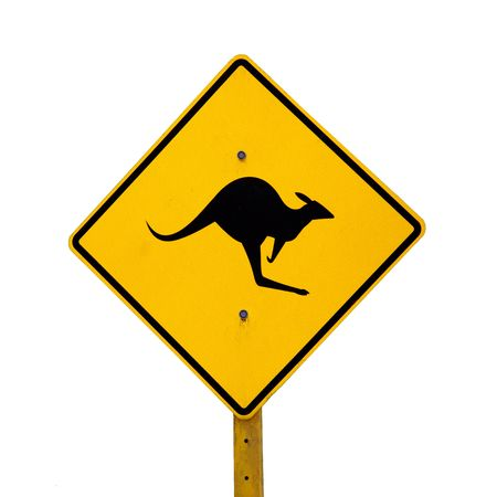 A roadside kangaroo warning sign in rural Australia. Stock Photo - 7932565